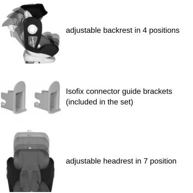 Automobilinė kėdutė Lorelli, LUSSO SPS Isofix Grey 0-36 kg 7