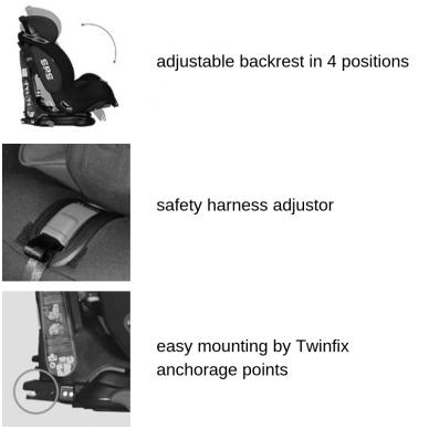 Automobilinė kėdutė Lorelli, TITAN+SPS Twinfix Black & Grey 9-36 kg 3
