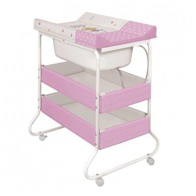 Vonelė su stovu ir vystymo lenta Suzi, Little Angel White-Pink