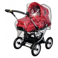 Rain cover with reflecting stripes for pram with swivelling handle