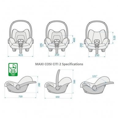 Automobilinė kėdutė Maxi Cosi Citi2 (0-13 kg), Nomad Black 8