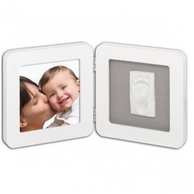 Baby Art Dvigubas kvadratinis nuotraukos rėmelis su įspaudu white/grey