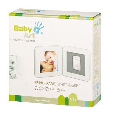 Baby Art Dvigubas kvadratinis nuotraukos rėmelis su įspaudu white/grey 2