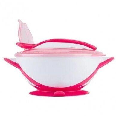 Lekštė su prie stalo limpančiu dugnu ir šaukšteliu Pink 3