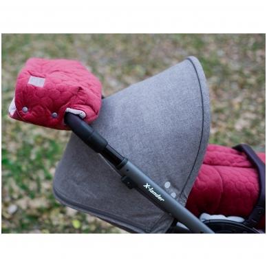 Pirštinės rankoms, tvirtinamos ant vežimėlio rankenos X-Lander X-Muff Velvet Ruby 2