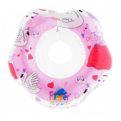 Plaukimo ratas kūdikiams ant kaklo Muzikinis, Gulbių Ežeras Pink, Roxy Kids