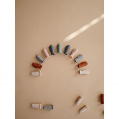 Dantukų masažuoklis-šepetukas Mushie, Cambridge Blue/Shifting Sand 2 vnt. 4