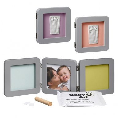 Baby Art trigubas kvadratinis rėmelis su įspaudais grey 2