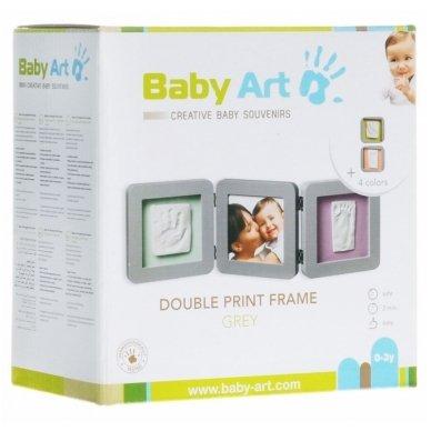 Baby Art trigubas kvadratinis rėmelis su įspaudais grey