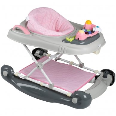 Vaikštynė BabyGo 4in1 grey Pink 2