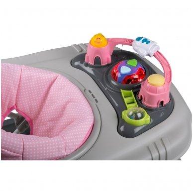 Vaikštynė BabyGo 4in1 grey Pink 4