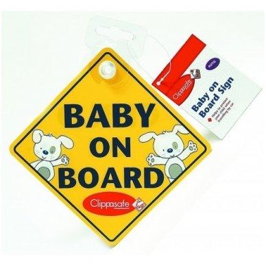 """Ženklas ant automobilio lango""""Baby on Board"""", Clippasafe"""