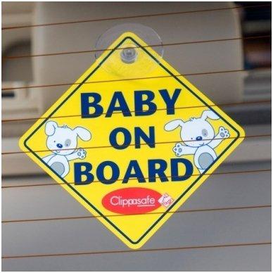"""Ženklas ant automobilio lango""""Baby on Board"""", Clippasafe 3"""